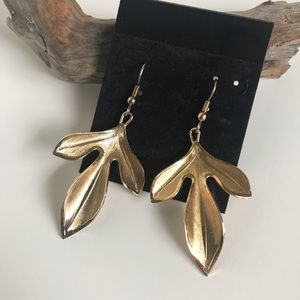 """Jewelry - Dangly """"Gold Leaf"""" Earrings with Ear Wire"""